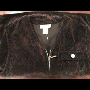 NWOT Paisley Velvet Vest