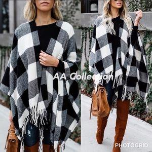 Accessories - Buffalo Check plaid Tassel shawl Poncho