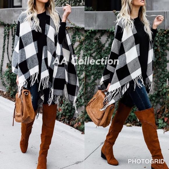 Accessories - Buffalo Check plaid Tassel shawl  Poncho sold