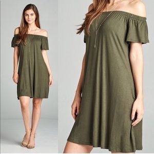 Off the shoulder short sleeve dress olive green