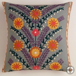 World Market Leaves and Blooms Throw Pillow