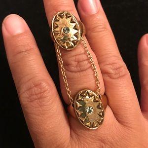 House of Harlow double finger gold boho ring sz 7