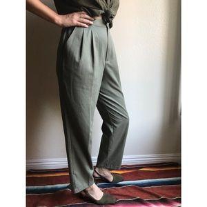 Vintage✨sage high waist minimal trousers