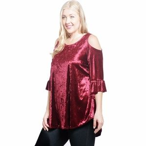 buyme4less tops gypsy christmas cold shoulder velvet tunic top