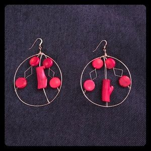 Jewelry - Handcrafted Hoop Red and Gold Earrings