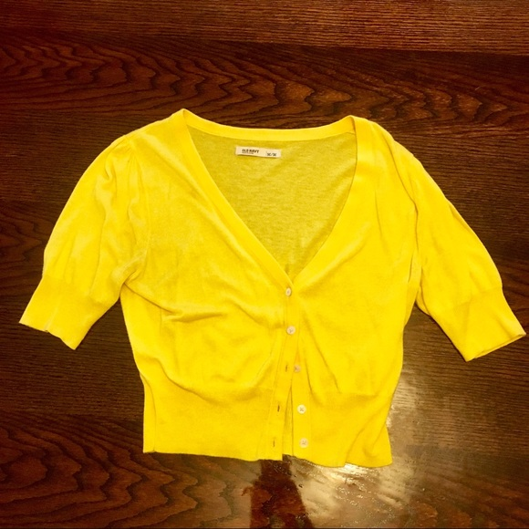 32% off Old Navy Sweaters - 🌼✨Yellow Button Up Cardigan Short ...