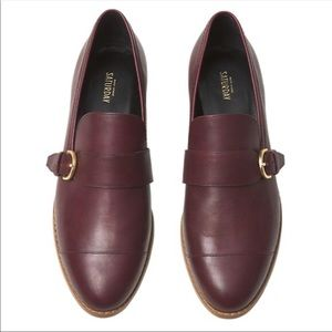 Kate Spade Saturday Maroon Buckled Loafers