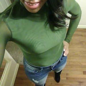 Tops - Green Mesh Bodysuit