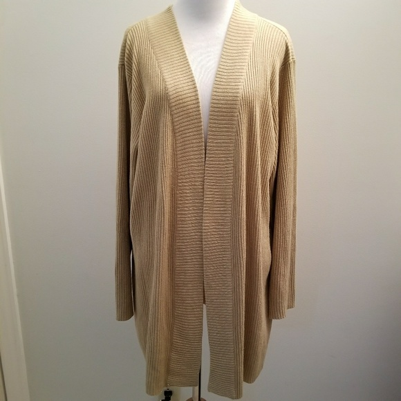 77% off Avenue Sweaters - Avenue 22/24 Sparkling Gold Open Front ...
