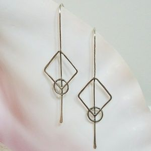925 Sterling Silver Geometric Drop Earrings