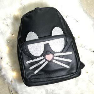 Handbags - GLITTERY CAT BLACK BACKPACK NWOT