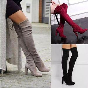 Shoes - New Suede Over the Knee Block Heel Boots