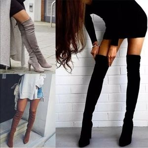 Shoes - New Suede Over the Knee Block Heel Boots