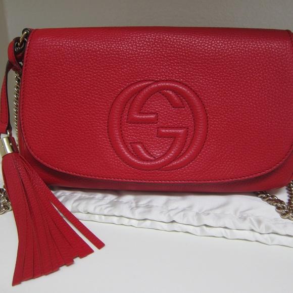 f753d9ed8f6a Gucci Handbags - RED Gucci Soho Medium Crossbody Chain Bag AUTH