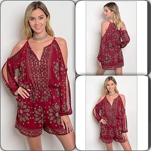 Pants - Bohemian Stunning Cut Out Sleeve Romper Small