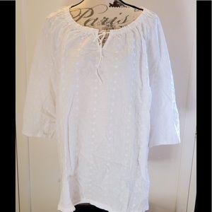 Liz & Me White Cotton Blouse Sz 2X 22/24W