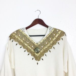 Vintage Gold Collar Cream Sweater Dress