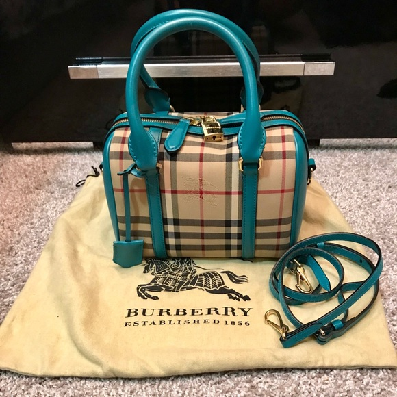 8483aefcab7e BURBERRY Alchester Honey Aqua Green satchel