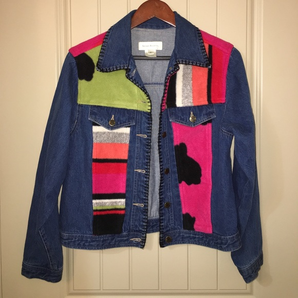 Susan Bristol Jackets Coats Artsy Color Block Denim Jean Jacket