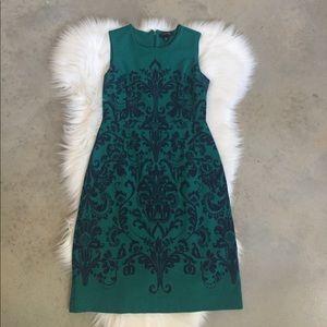 Lands' End Green Damask Sleeveless Dress Size 0P