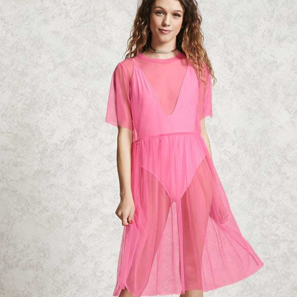 eecdc2f5a99 FOREVER 21 Sheer Hot Pink Mesh Shirt Dress S NWT