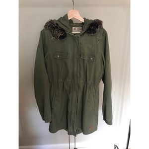 Army green trench jacket