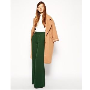 ASOS Green Crepe Dress Pants Wide Leg Size 8