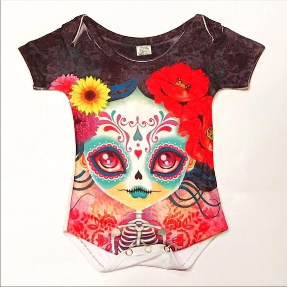3e3b5fc9e Día de Los Muertos Baby Onesie Sugar Skull 3-6 Mo. Boutique. Cielito Lindo