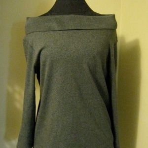 new Gray Neck On Off Shoulder Sweater Rafaella sm