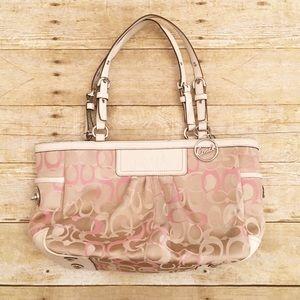 Coach pink/tan optic gallery shoulder bag