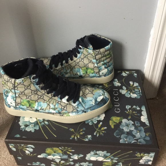 Gucci Shoes Mens Blue Floral High Top Sneakers Poshmark