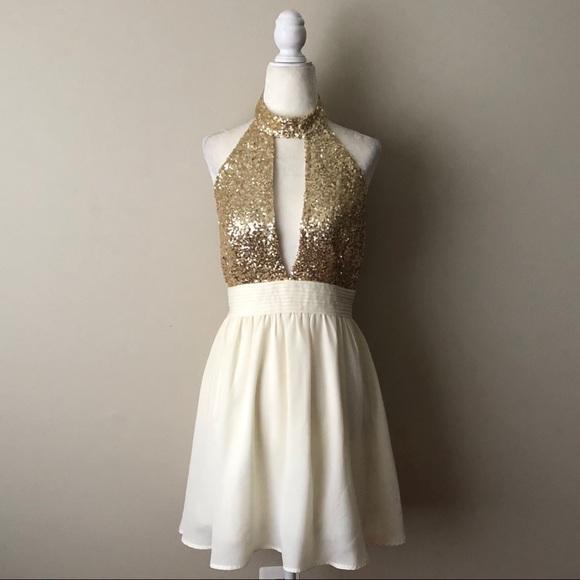 1200bb6b8c1f Windsor Dresses | Gold Sequin Ivory Skirt Dress | Poshmark