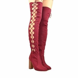 Chase & Chloe Shoes - Burgundy Over-The-Knee Boot Chunky Heel Lace-Up