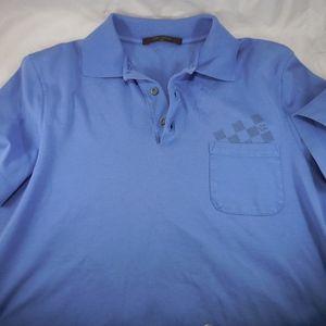 AUTHENTIC Louis Vuitton Blue Mens Emblem Polo