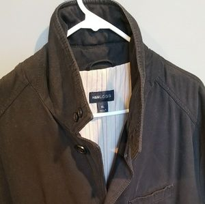 H&M L.O.G.G. black quilted coat w/ pinstripe liner