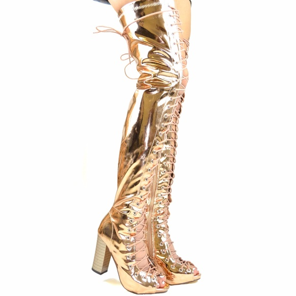 91322b0a444 Gold Chunky Heel Front Lace-Up Over-The-Knee-Boot