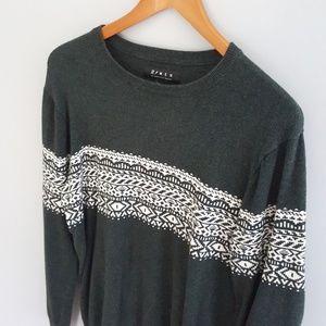 21Men Graphic Print Fall Sweater Green White