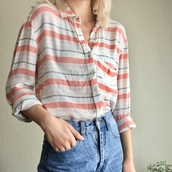 Urban Outfitters Tops - BDG Crop Stripe Button Down Tee