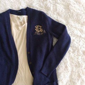 RALPH LAUREN navy blue gold emblem long cardigan