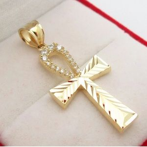 Jewelry - Real Solid Gold Ankh Pendant Diamond Cut NEW