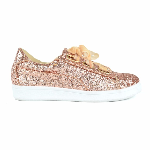 bca686ffaaed Chase & Chloe Shoes | Gold Shiny Glitter Laceup Canvas Sneakers ...