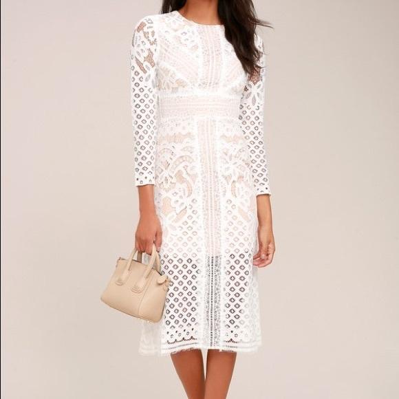 853db0603a8008 ASOS Dresses   Keepsake Bridges White Lace Long Sleeve Midi Dress ...