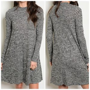 Gray Black Long Sleeve Knit Dress