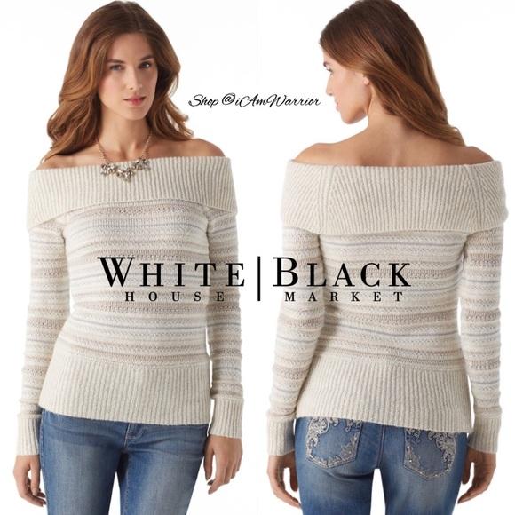 White House Black Market Sweaters Whbm Ivory Striped Metallic Off