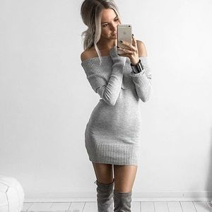 Foldover Off Shoulder Bodycon Knit Sweater Dress