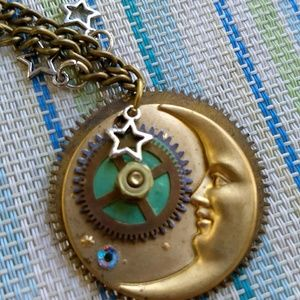 Jewelry - Beautiful Steampunk Upcycled Moon  Necklace