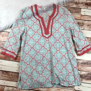J. Crew printed tipped tunic blouse