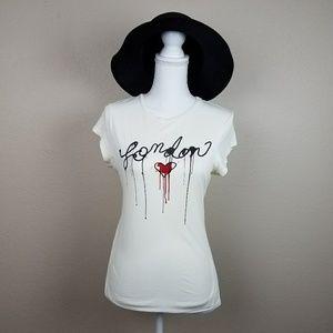 Miley Max Azria London Heart Off White Tshirt XS S