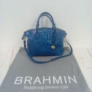 Brahmin Turquoise Croc Embossed Handbag