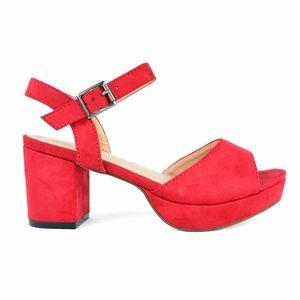 Red Sling Back Peep Toe Low Heeled Platform